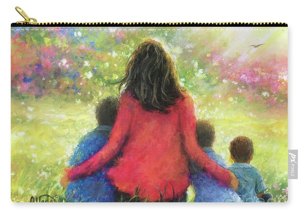 Mother And Three Sons In The Garden Carry-all Pouch