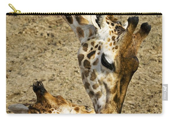 Mother Giraffe With Her Baby Carry-all Pouch