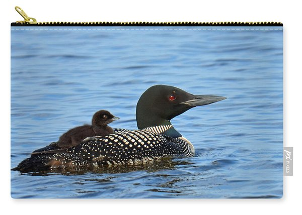 Mother Loon And Her Baby Carry-all Pouch
