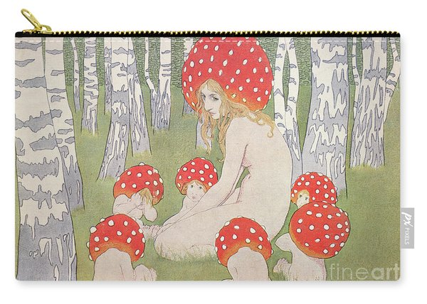Mother Mushroom With Her Children Carry-all Pouch