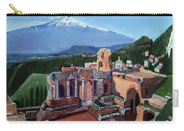 Mount Etna And Greek Theater In Taormina Sicily Carry-all Pouch