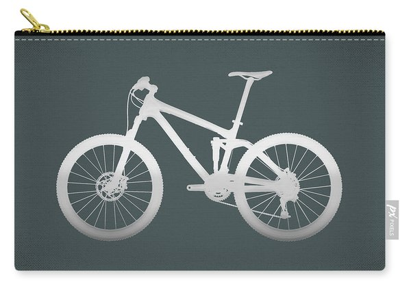 Mountain Bike Silhouette - Silver On Volcanic Rocks Gray Canvas Carry-all Pouch