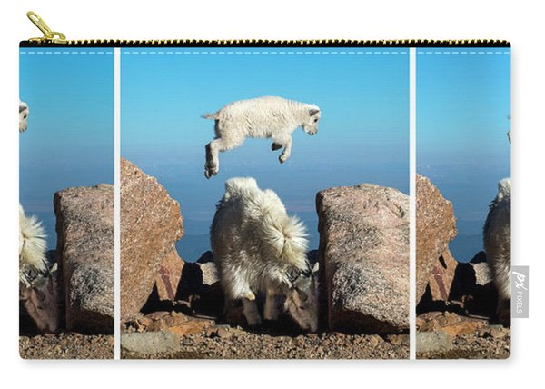 Mountain Goat Leap-frog Triptych Carry-all Pouch