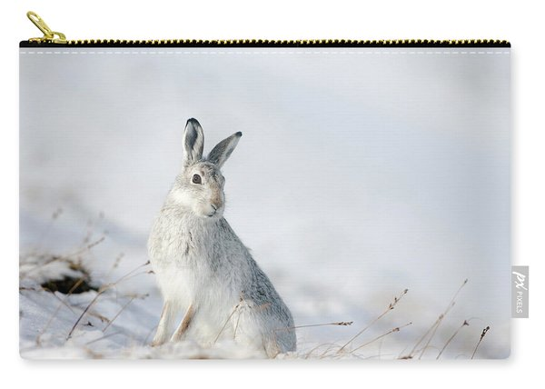 Mountain Hare Sitting In Snow Carry-all Pouch