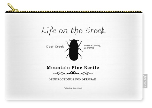 Mountain Pine Beetle Black On White Carry-all Pouch