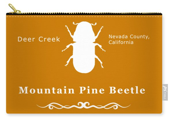 Mountain Pine Beetle White On Black Carry-all Pouch