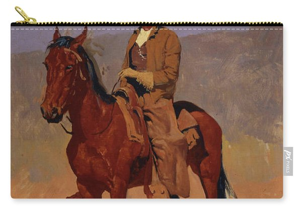Mounted Cowboy In Chaps With Bay Horse Carry-all Pouch