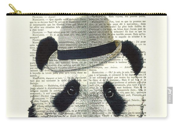 Panda With Fedora Hat En Red Rose Carry-all Pouch