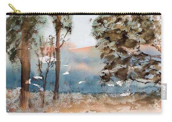Mt Field Gum Tree Silhouettes Against Salmon Coloured Mountains Carry-all Pouch
