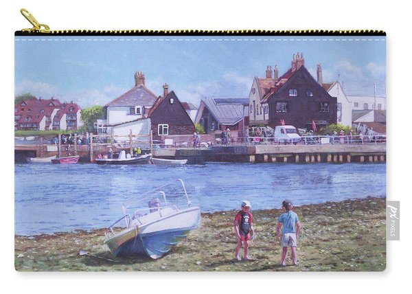 Carry-all Pouch featuring the painting Mudeford Quay Christchurch From Hengistbury Head by Martin Davey