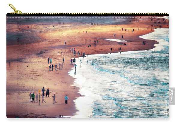 Carry-all Pouch featuring the photograph multiple exposure of people on North sea beach  by Ariadna De Raadt