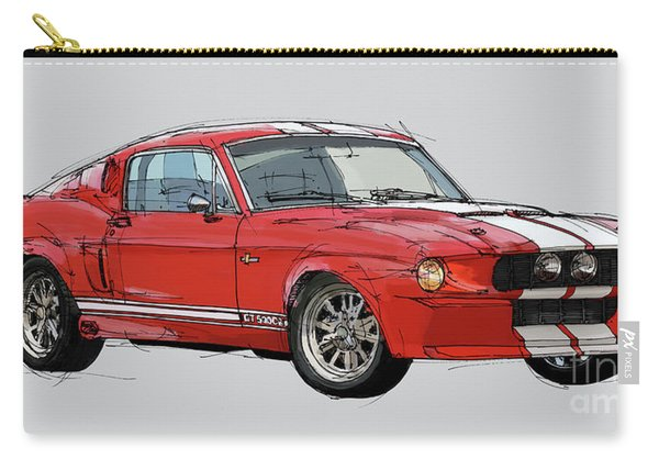 Mustang Gt-500 Red Classic Car, Handmade Drawing, Gift For Man Carry-all Pouch