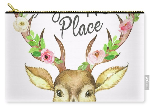 My Happy Place Woodland Boho Deer Carry-all Pouch