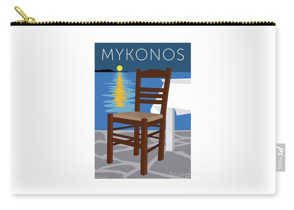 Carry-all Pouch featuring the digital art Mykonos Empty Chair - Blue by Sam Brennan