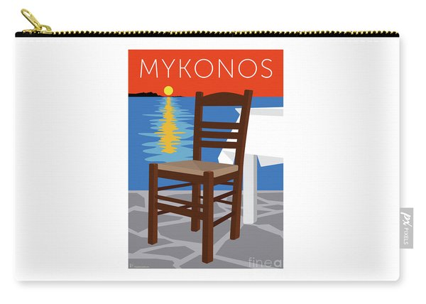 Carry-all Pouch featuring the digital art Mykonos Empty Chair - Orange by Sam Brennan