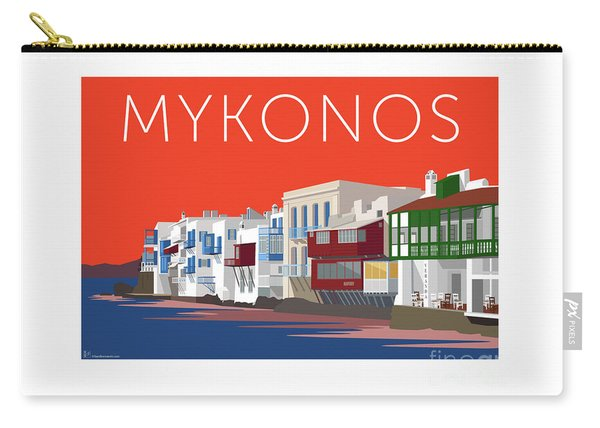 Mykonos Little Venice - Orange Carry-all Pouch
