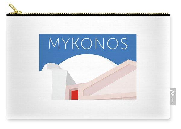Carry-all Pouch featuring the digital art Mykonos Walls - Blue by Sam Brennan