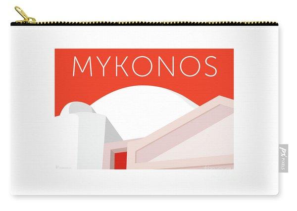Carry-all Pouch featuring the digital art Mykonos Walls - Orange by Sam Brennan