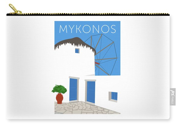 Carry-all Pouch featuring the digital art Mykonos Windmill - Blue by Sam Brennan