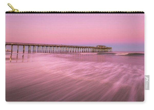 Carry-all Pouch featuring the photograph Myrtle Beach Fishing Pier At Sunset Panorama by Ranjay Mitra