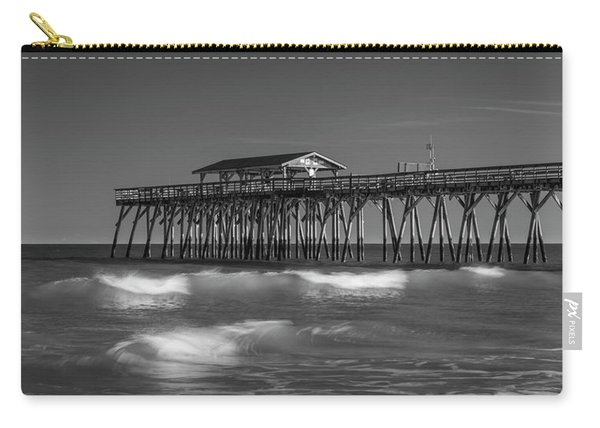 Carry-all Pouch featuring the photograph Myrtle Beach Pier Panorama In Black And White by Ranjay Mitra