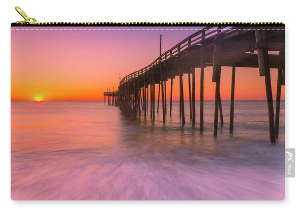 Carry-all Pouch featuring the photograph Nags Head Avon Fishing Pier At Sunrise by Ranjay Mitra