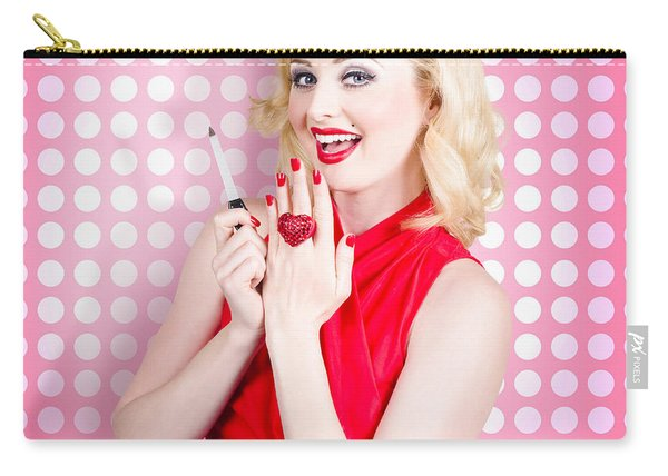 Nail Hand Model. Retro Pinup Girl With Red Nails Carry-all Pouch