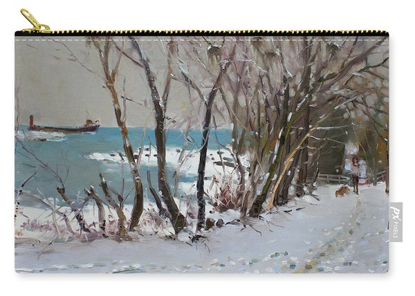 Naked Trees By The Lake Shore Carry-all Pouch
