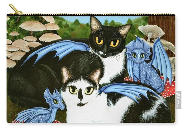 Nami And Rookia's Dragons - Tuxedo Cats Carry-all Pouch