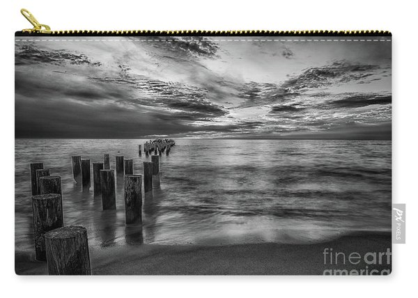 Naples Sunset In Black And White Carry-all Pouch