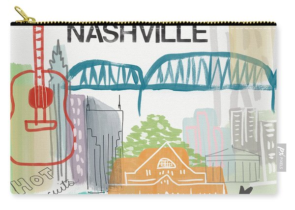 Nashville Cityscape- Art By Linda Woods Carry-all Pouch