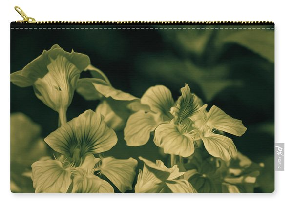 Nasturtium Black And White Carry-all Pouch