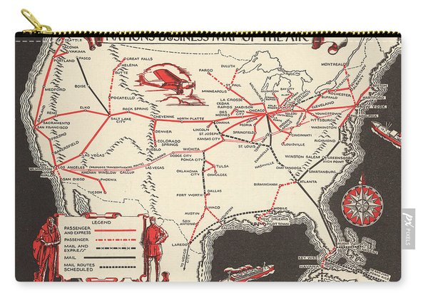 Nations Business Map Of The Air - North America - Air Routes - Vintage Illustrated Map Carry-all Pouch