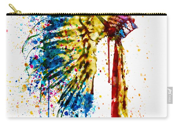 Native American Feather Headdress   Carry-all Pouch