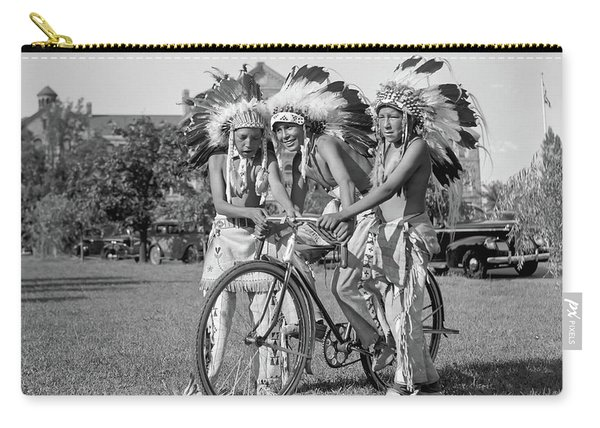 Native Americans With Bicycle Carry-all Pouch