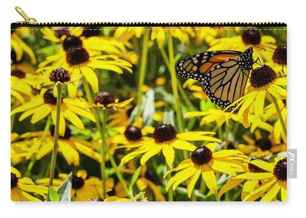 Monarch Butterfly On Yellow Flowers Carry-all Pouch