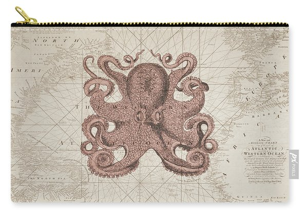 Nautical Octopus Sea Chart Carry-all Pouch