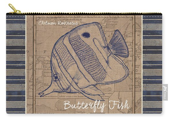 Nautical Stripes Butterfly Fish Carry-all Pouch