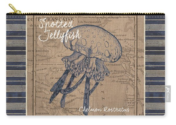 Nautical Stripes Jellyfish Carry-all Pouch