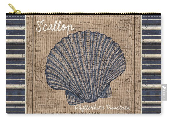 Nautical Stripes Scallop Carry-all Pouch