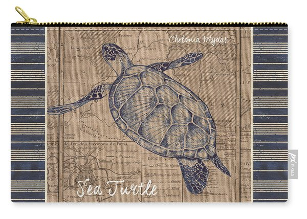 Nautical Stripes Sea Turtle Carry-all Pouch