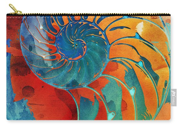 Nautilus Shell Orange Blue Green Carry-all Pouch