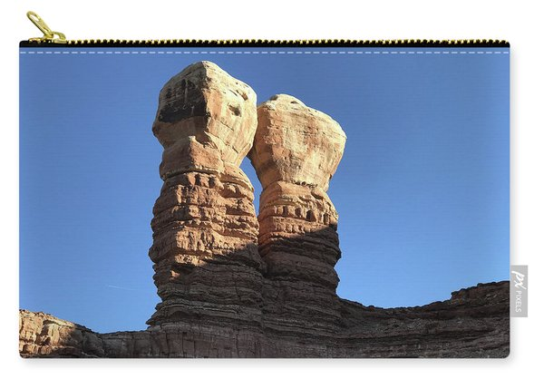 Carry-all Pouch featuring the photograph Navajo Twin Rocks by Bill Gabbert
