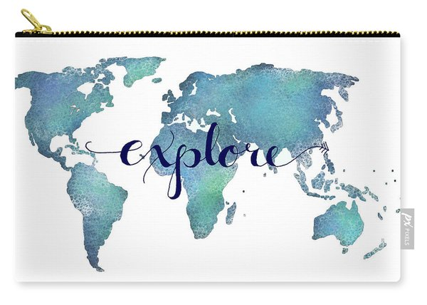 Navy And Teal Explore World Map Carry-all Pouch