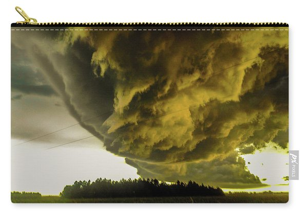 Carry-all Pouch featuring the photograph Nebraska Supercell, Arcus, Shelf Cloud, Remastered 018 by NebraskaSC