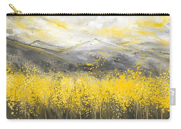 Neutral Sun - Yellow And Gray Art Carry-all Pouch
