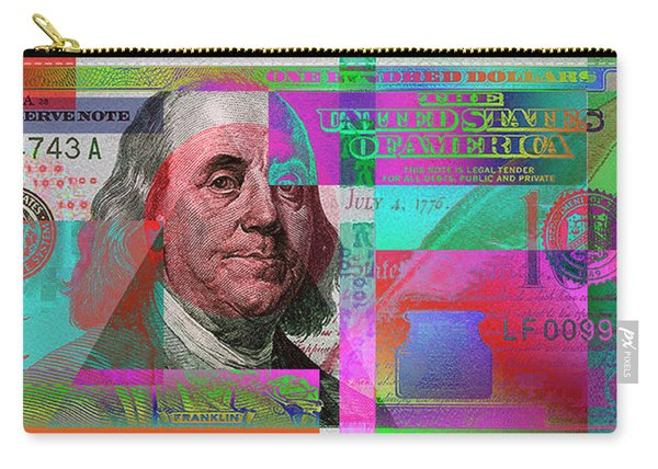New 2009 Series Pop Art Colorized Us One Hundred Dollar Bill  No. 3 Carry-all Pouch