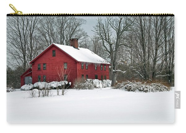 New England Colonial Home In Winter Carry-all Pouch