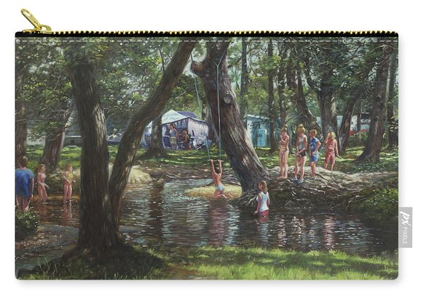 Carry-all Pouch featuring the painting New Forest Camping Fun by Martin Davey