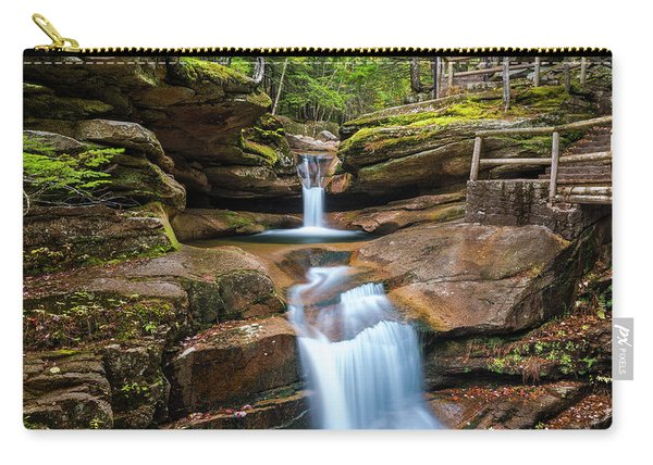 Carry-all Pouch featuring the photograph New Hampshire Sabbaday Falls In Autumn by Ranjay Mitra